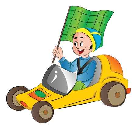 kart: Boy in a Go Kart with a Green Flag, vector illustration
