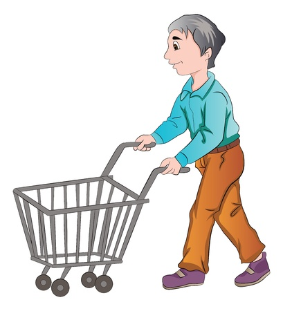 Male Shopper Pushing a Shopping Cart, vector illustration Vector
