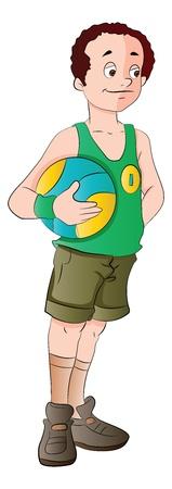 Man Holding a Basketball, vector illustration Ilustracja