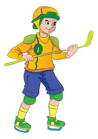 teamsport: Young Man Playing Hockey, vector illustration