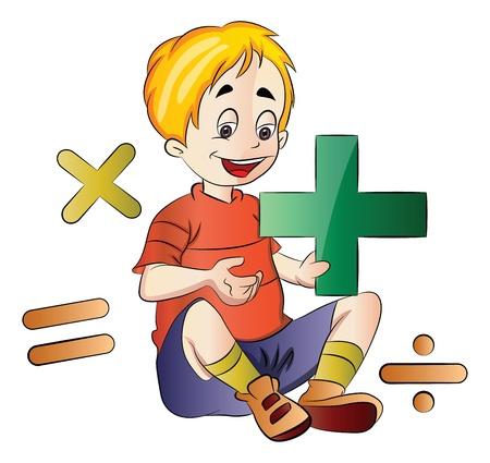 addition: Boy apprentissage des math�matiques, illustration Illustration