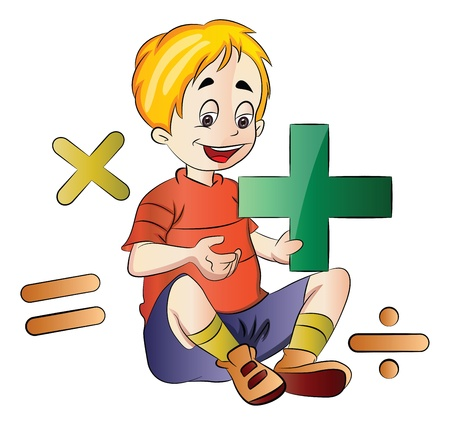 addition: Boy Learning Math, vector illustration
