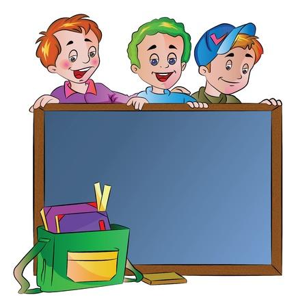 smart: Three Boys Standing Behind a Chalk Board, vector illustration