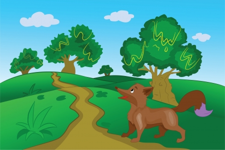 Brown Fox in the Forest, vector illustration