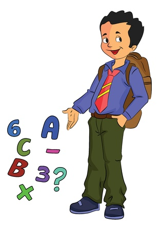 Boy Student Learning Math, vector illustration