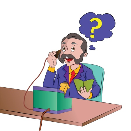 calling art: Man Using an Old Telephone, vector illustration