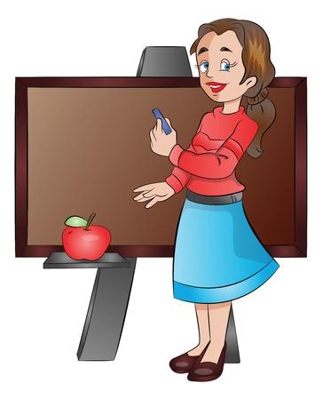 mother board: Lady Teacher Using a Chalk Board, vector illustration