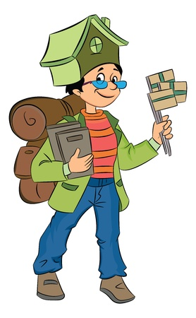 Backpacking Around the World, vector illustration Illusztráció