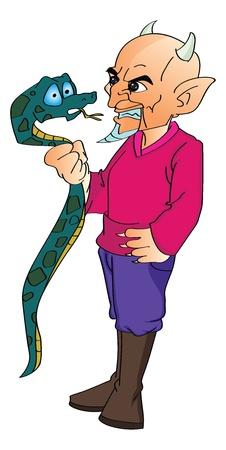 devilish: Devil Grabbing a Snake, vector illustration