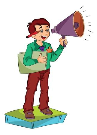 Jonge man met een megafoon, vectorillustratie