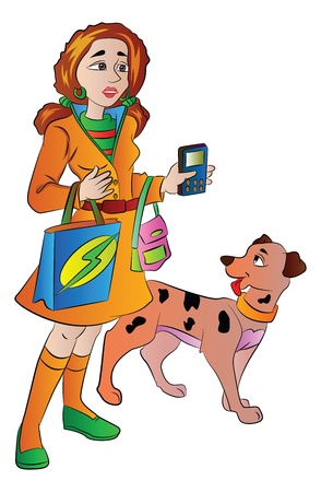 Woman with Bags Cellphone and a Pet Dog, vector illustration Illustration