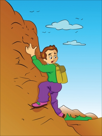 Boy Climbing a Mountain, vector illustration Vector