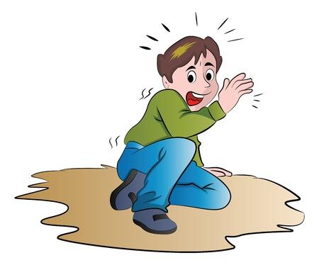 Terrified Boy, vector illustration