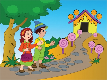 Hansel and Gretel Finding a Gingerbread House, vector illustration Vector