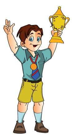 Jongen die een Trofee, vectorillustratie