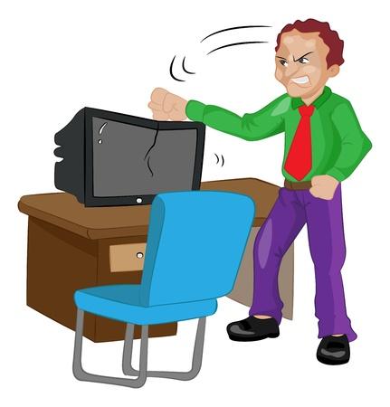 Angry Man Pounding on a TV or computer, vector illustration Illusztráció