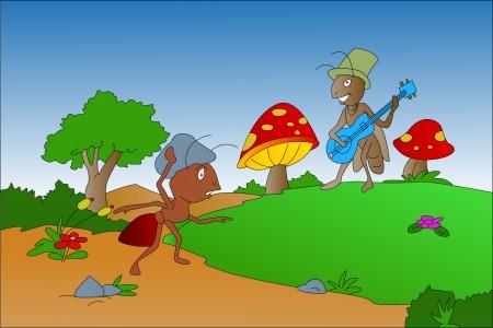 De mier en de sprinkhaan fabel, vectorillustratie