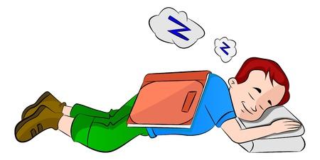 cansancio: Boy quedarse dormido mientras estudiaba, ilustración vectorial