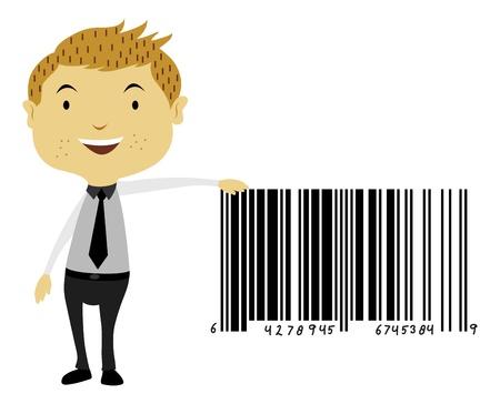 Man Beside a Giant Barcode Symbol, vector illustration