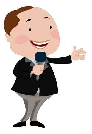 talk show: Man Talking on a Microphone, vector illustration