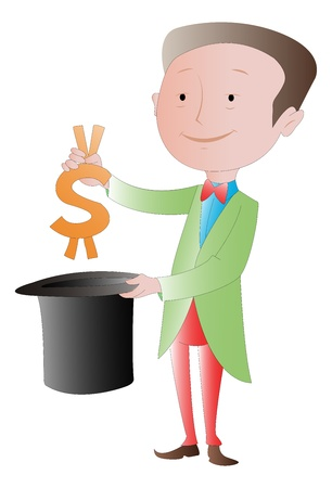 pulling money: The Business Magician: Making money disappear vector illustration