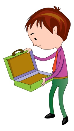 Man Opening an Empty briefcase, vector illustration