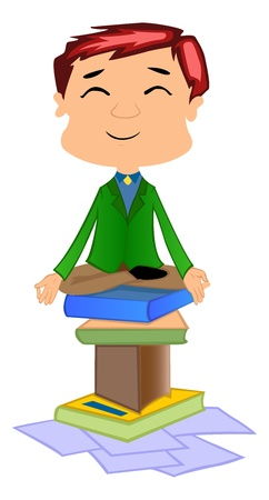 meditation man: Working Man Doing Meditation on books, vector illustration
