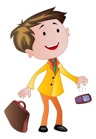 cellphone: Businessman with Briefcase and Cellphone, vector illustration