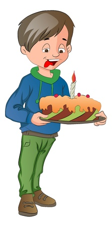 Boy Holding a Cake with Candle, vector illustration