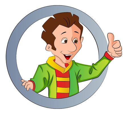 alright: Man Doing a Thumbs Up Sign, inside a circle, vector illustration