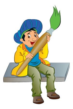 creative artist: Painter Holding a Giant Paintbrush, vector illustration