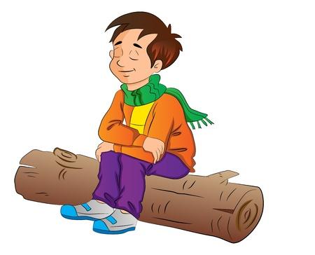 Muchacho que se sienta en un registro, ilustración vectorial