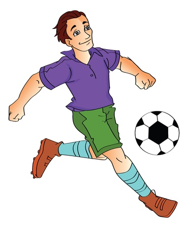 sporting activity: Young Man Playing Soccer, vector illustration Illustration