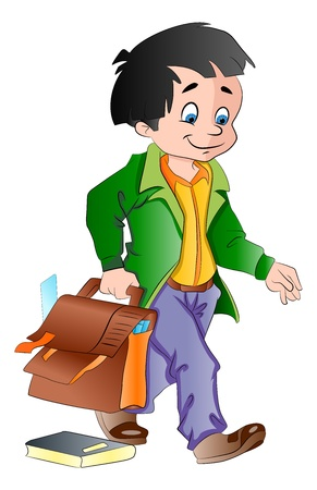 emptying: Happy boy with a School Bag emptying on the floor, vector illustration Illustration