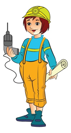 Young Female Construction Worker with an Electric Drill and Plans, vector illustration Ilustrace