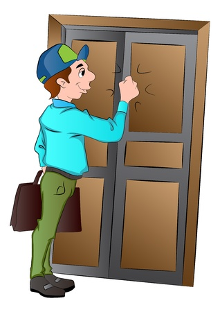 Salesman Knocking on a Door, vector illustration Иллюстрация