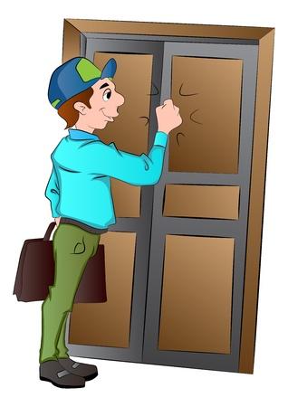 tocar la puerta: Salesman Llamando a una puerta, ilustración vectorial