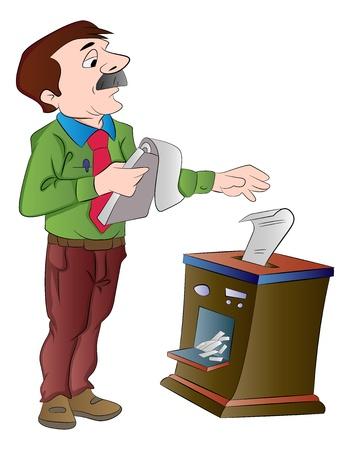 shredding: Man Shredding Documents, vector illustration Illustration