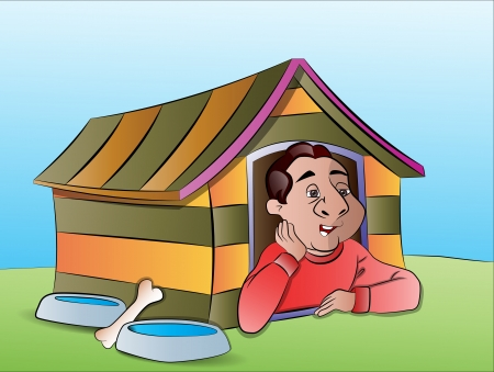 Man in a Dog House, vector illustration Vector