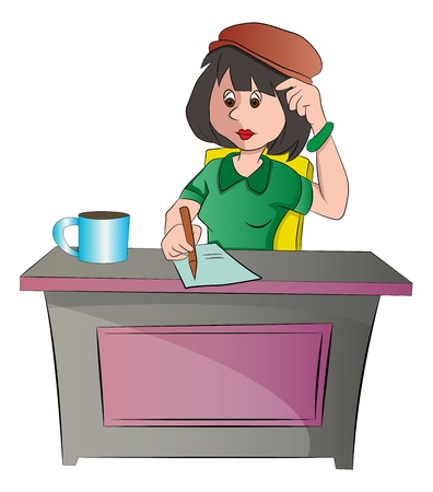 writer: Secretary or woman Sitting at a Desk, vector illustration
