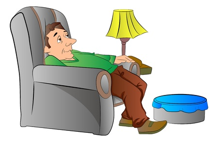 vector chair: Man Slouching on a Lazy Chair or couch, vector illustration
