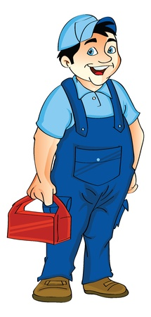 jumpsuit: Man in a Jumpsuit Holding a Lunch Box, vector illustration