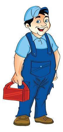 Man in een Jumpsuit Holding een Lunch Box, vector illustration Stockfoto - 22066365