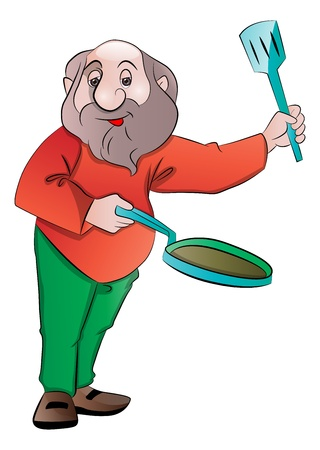 Bearded Old Man with a Frying Pan and Laddle, vector illustration