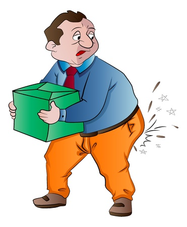 Man Experiencing Butt Pain After Lifting a Box, vector illustration Ilustração
