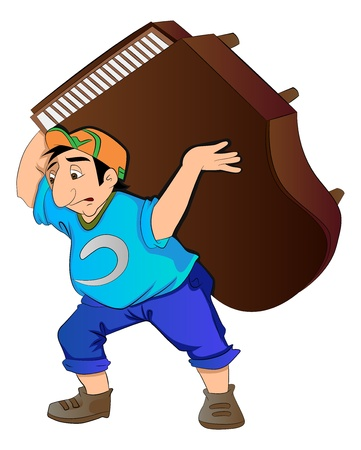 labor strong: Man Lifting a Piano, vector illustration
