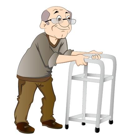 gehhilfe: Alte Mann mit einem Walker, Vektor-Illustration Illustration