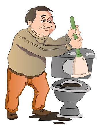 urinal: Man Cleaning a a blocked Toilet, vector illustration