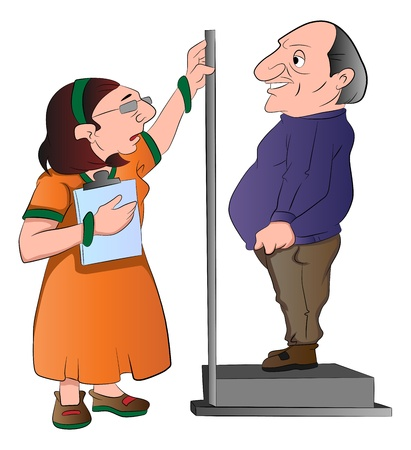 tall woman: Lady Measuring a Mans Height, vector illustration