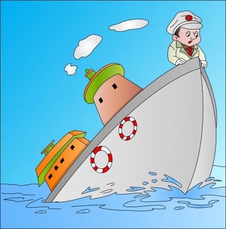 Schip Sinking met kapitein, vector illustratie